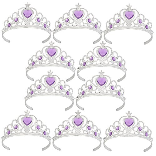 XiangGuanQianYing Tiaras and Crowns for Little Girls from 3 Years Up Party Favors Lavender Tiara Plastic Tiara(10 -