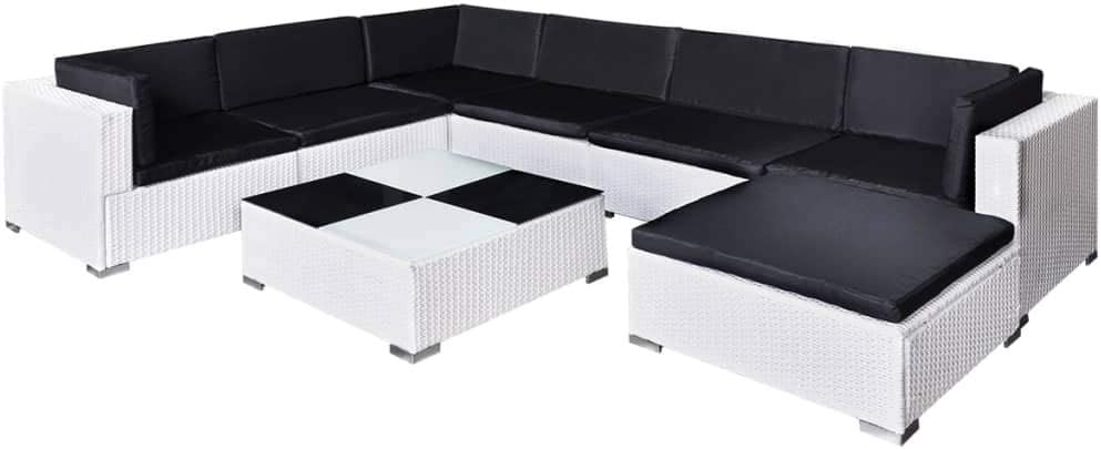 vidaXL Muebles de Jardín 24 Piezas Ratán Sintético Blanco con Cojines Negros: Amazon.es: Hogar
