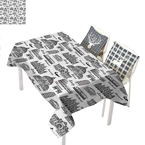WilliamsDecor City Checked Tablecloth Monochrome Sketch Style Famous Places from Italy Rome Milano European ArchitectureBlack White Rectangular Tablecloth W52 xL70 inch