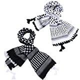 Micoop Large Size Premium Shemagh Scarf Arab Military Tactical Desert Scarf Wrap with Fine Tassels, 2-Pack (White Black & Black White)