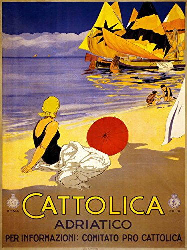 - Travel Tourism Cattolica Italy Resort Adriatic Sea Beach Boat Poster Print