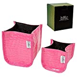 BMC Stylish Patent Pink Faux Crocodile Skin Beauty Essentials Cosmetic Brush Holder Container