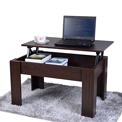 GLS Lift up Top Coffee Table Desk with Storage in Walnut Color
