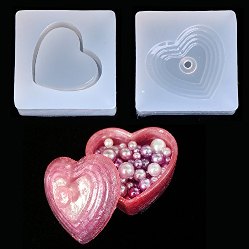 Hacloser DIY Heart Shapes Silicone Storage Box Mold Resin Mould Jewelry Casting Craft Tools