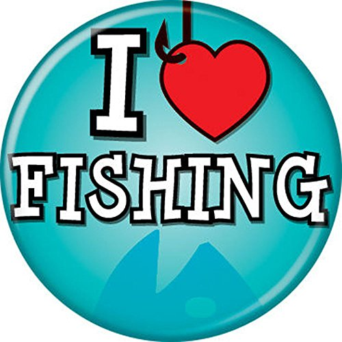 I Heart Fishing Blue - Hunting And Fishing - Pinback Button 1.25