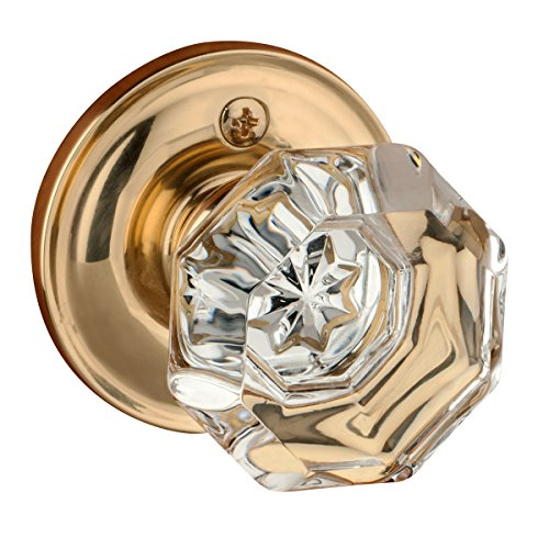 Dynasty Hardware Classic Rosette, Crystal Style Door Knob, Individual Dummy Door Knob, (Brass Classic Rosette)