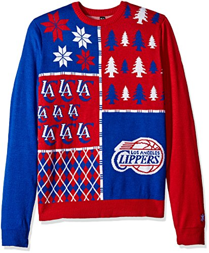 [KLEW NBA Los Angeles Clippers Busy Block Ugly Sweater, Large, Red] (Los Angeles Clippers Acrylic)