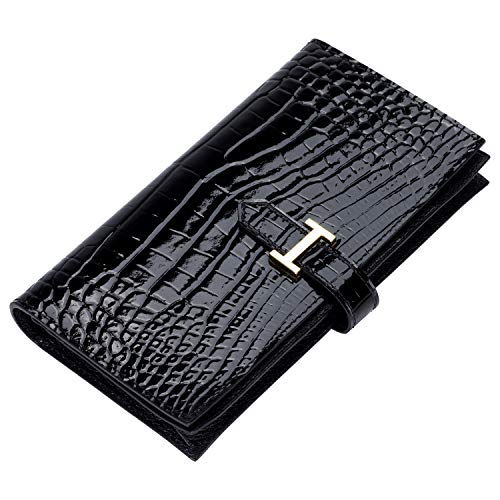 LUCKYSGY Genuine Leather Wallet with Crocodile Embossed Long Purse for Women(Black)