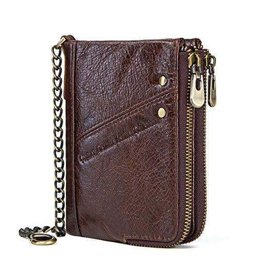 Portafoglio uomo in pelle casual FRID multi-funzione doppia cerniera borsa in pelle strato superiore in pelle Brown