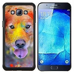 Rainbow Holi Pintura perro del golden retriever- Metal de aluminio y de plástico duro Caja del teléfono - Negro - Samsung Galaxy A8 / SM-A800