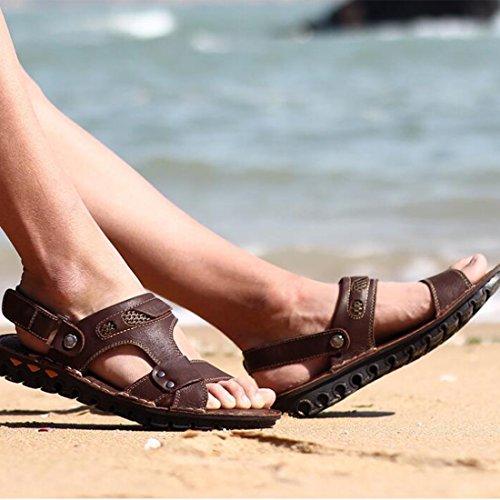 Pelle in Sandali Estivi Mano Sandali Uomo Spiaggia Sandali da A Fatti Esterno da Darkbrown da xqRgqX