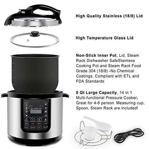 ZENY 6 Qt 7-in-1 Multi- Use Programmable Pressure Cooker Stainless Steel Electric Pressure Cooker 1000W w/LED Display Screen, Rice Cooker, Sauté, ...