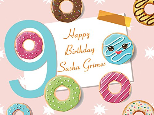 Custom Cartoon Donuts 9 Year Old Kids Birthday Poster - Size 24x36, 48x24, 48x36; Personalized Donuts Emoji Birthday Party Banner Wall Décor, Handmade Party Supply Poster Print