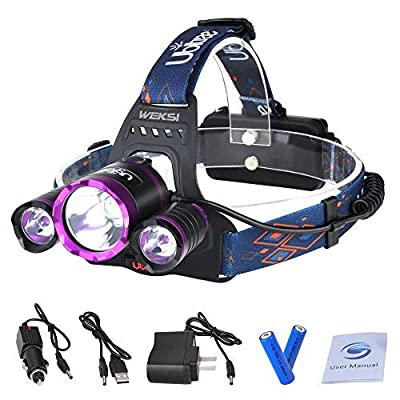 5000 Lumen Headlight WEKSI 3 LED 4 Mode Headlamp Flashlight Torch CREE XM-L2 T6 Helmet Light with Rechargeable Batteries and Wall Charger for Running Hiking Camping Riding Fishing Hunting