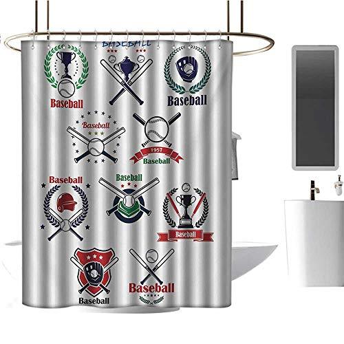 TimBeve Vintage Shower Curtain Sports,Baseball Gloves Balls Crossed Bats and Trophy Cups Stars Emblem Sports Design,Indigo Red Green,Rustproof Metal Grommets Bathroom Shower Curtain 70