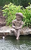 Fishing Girl Cast Stone Statue-sculpture/pond and garden decor/accent- Great Garden Gift Idea!