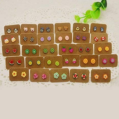 200 Pcs Earring Cards,2.5cm X 3.5cm White Kraft Paper Earring Display Cards,Small Earring Card Holder Tags for DIY Ear Studs