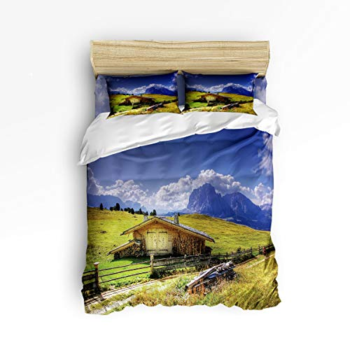 4 Piece Bedding Duvet Cover Sets with Flat Sheet and Decorative Pillowcases for Kids/Adults/Teens - Twin Size Luxury Soft Lightweight Brushed Microfiber, Prairie Mountain House Landscape ()