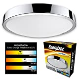 Energizer LED bathroom ceiling light CCT - Waterproof IP44 Colour temperature changing light fitting - Switch from 2700K Warm white to 4000K Cool white to 6000K Dayl