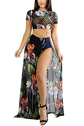 - Aro Lora Women's Sexy Floral Print Mesh High Side Slit Two-Piece Maxi Dress Medium Black