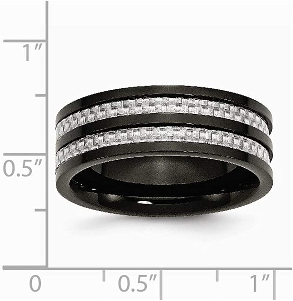 Stainless Steel Engravable IP Black-Plated 8mm Black-Plated with Grey Carbon Fiber Inlay Polished Band Ring 10 10.5 11 11.5 12 12.5 13 13.5 14 8 8.5 9 9.5 Ring Size Options