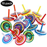 Sparta's Store 16 PCS Wooden Spinning Top Handmade Painted Wood Spinning Tops for Children Kids!