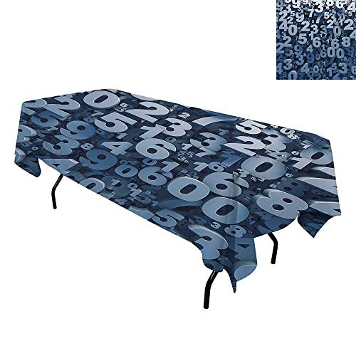 Mathematics Classroom Decor,Washable Table Cover,Abstract 3D Style Random Number Digits Symbols Algebra Signs,Tablecloths for Parties,W70 x L120 Inch Blue White]()