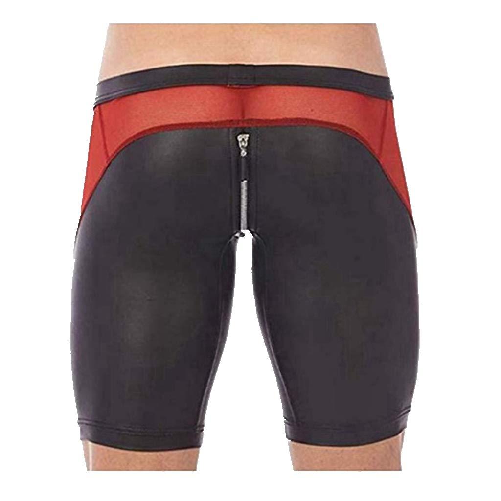 YiZYiF Men's Tights Leather Jammer Pants Bikini Mesh Splice Zipper Pouch Underwear Black X-Large