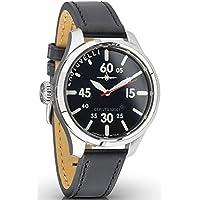 Aviator Pilot Mens Watch- Analog Date Display, Sapphire Glass, Italian Leather Black Wrist band 52.01