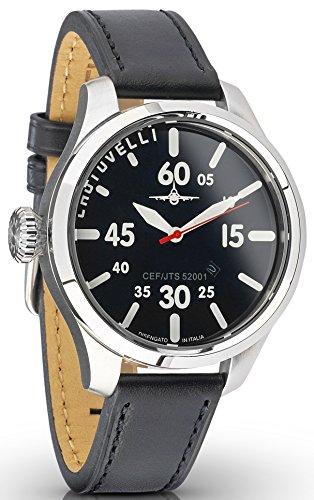 Alfa Black Glass - Aviator Pilot Mens Watch- Analog Date Display, Sapphire Glass, Italian Leather Black Wrist band 52.01