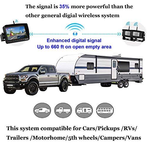Emmako Digital Wireless Dual Backup Camera High-Speed Observation System For Truck/Trailer/RV 7'' Monitor Split Screen Kit IP69K Waterproof Night Vision Rear/Side/Front View Camera Driving/Reversing by Emmako (Image #1)