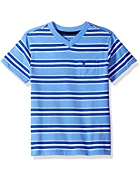 Boys Short Sleeve V-Neck Striped Tee