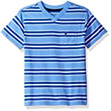 Tommy Hilfiger Big Boys' Bruce Stripe Vneck Tee with Pocket, Summer Blue, Large (16/18)