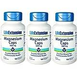 Life Extension Magnesium Vegetarian Capsules, 500 mg, 100 Count x 3