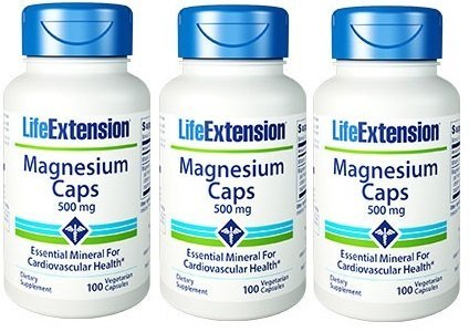 Life Extension Magnesium Vegetarian Capsules, 500 mg, 100 Count x 3 ()