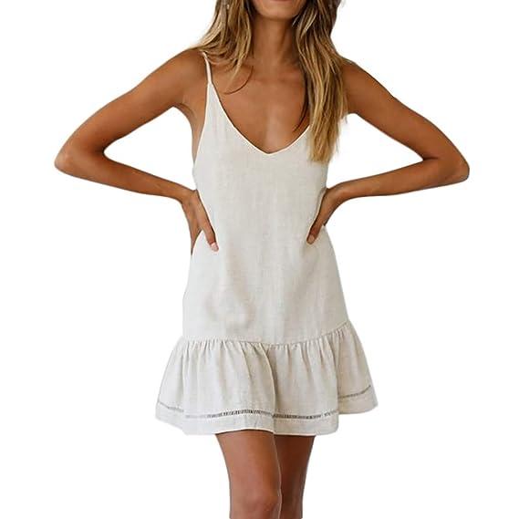 Levifun Vestidos Mujer 2019 Verano Vestidos Playa Mujer Vestidos Casuales Vestido Verano Honda Vestido Casual Vestido Sin Mangas Con Cuello En V