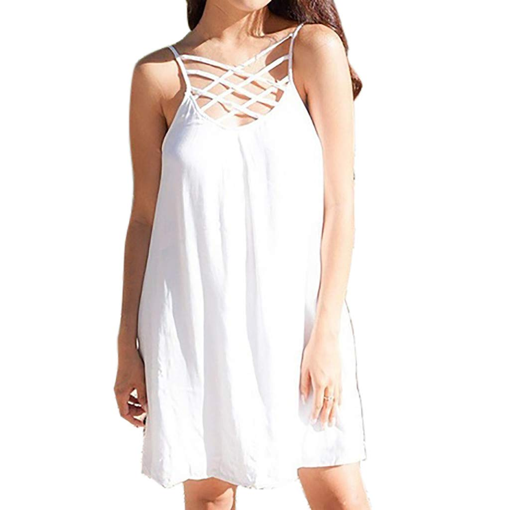 KYLEON Women Dresses Sleeveless Solid Color Sling Cross Summer Casual Plain Loose Sexy Tops Party Beach Short Sun Dress White