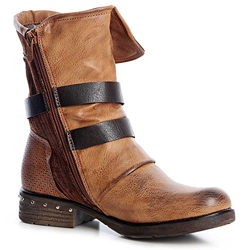 topschuhe24 1296 Damen Worker Boots Stiefeletten Schnürer Nieten Camel