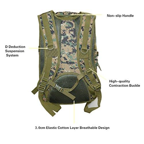 Táctica de camuflaje asalto Militar mochila 40L al aire libre Swordfish Molle mochila Nylon resistente al agua para hombres y mujeres senderismo trekking, Forest Digital Camouflage Forest Digital Camouflage