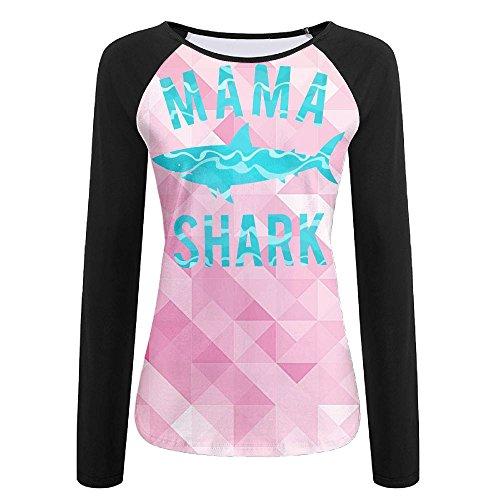 Cute Mama Shark Casual Baseball Boat Neckline Fashion Long Sleeve Women Raglan T Shirt