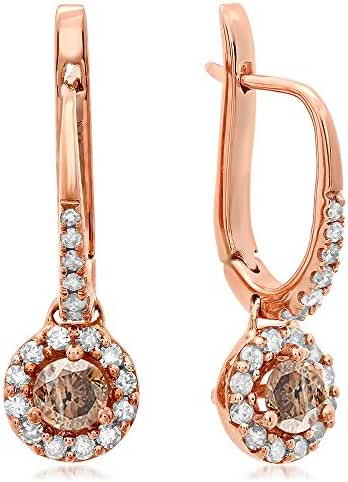 0.43 Carat (ctw) 14K Rose Gold Round Champagne & White Diamond Ladies Halo Style Dangling Drop Earrings
