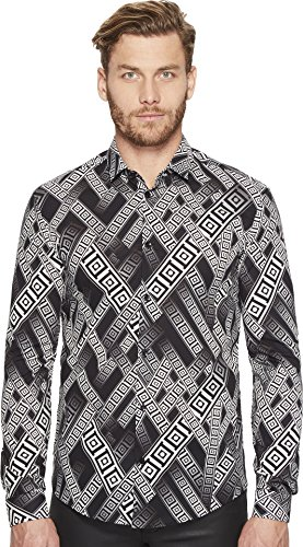 Price comparison product image Versace Collection Men's Long Sleeve Botton Down Nero / Stampa Button-up Shirt