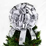 Christmas Tree Bow Topper | Tree Bow | Big Present Bow | Grey White Silver : TB2
