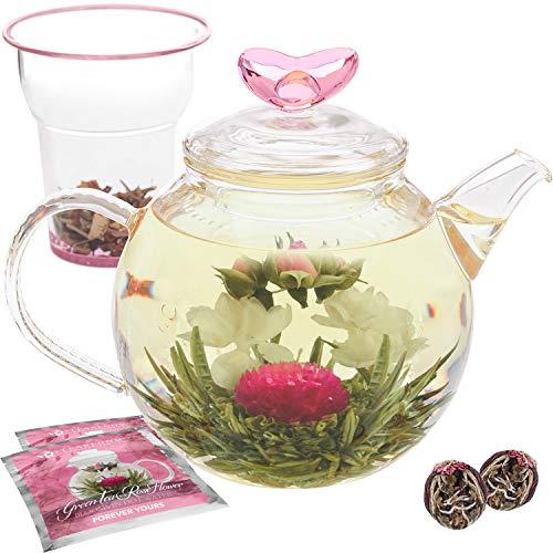 Teabloom Eternal Love Teapot - Glass Teapot (36 oz), Heart-Topped Lid, Glass Loose Leaf Tea Infuser + 2 Gourmet Blooming Teas - Thermal Shock Resistant - Stovetop Safe