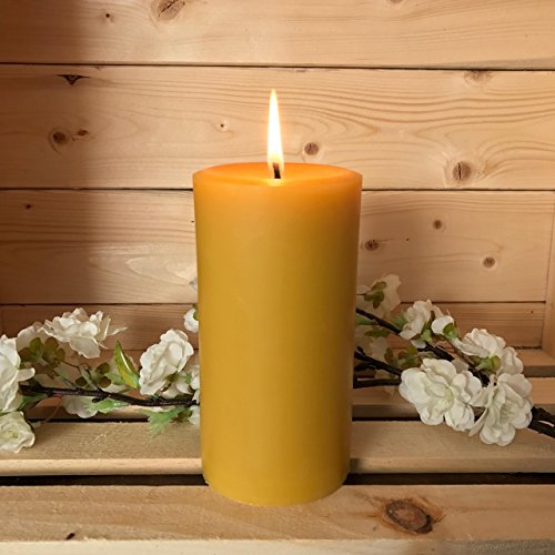 Tennessee Wicks All Natural Unscented Pure Hand Poured Beeswax 6 x 3 Pillar Candle