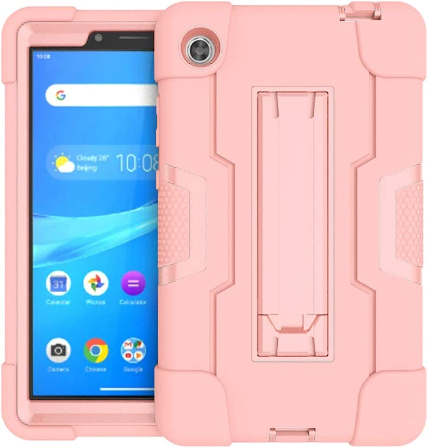 Koolbei Case for Lenovo Tab M7 Case,Heavy-Duty Drop-Proof and Shock-Resistant Rugged Hybrid case(with Built-in Stand),for Lenovo Tab M7 7.0inch (TB-7305F /TB-7305L/TB-7305X) Case (Rose Gold)