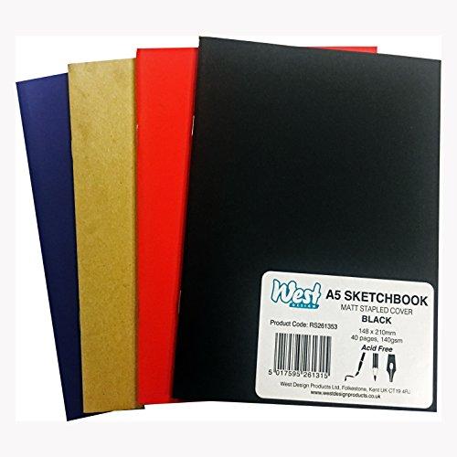 West 265092 A5 140 GSM Sketchbook - Matt Assorted Colours (140gsm Matt)