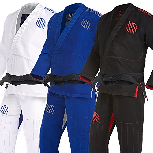 Sanabul Essentials Version 2 Ultra Light BJJ Jiu Jitsu Gi with Preshrunk Fabric (Black, A3)