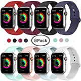 AdMaster Compatible for Apple Watch Band 42mm/44mm, Soft Silicone Replacement Wristband Classic Sport Strap Compatible for iWatch Apple Watch Series 1/2/3/4, Edition, Nike+, M/L Size 8 Pack