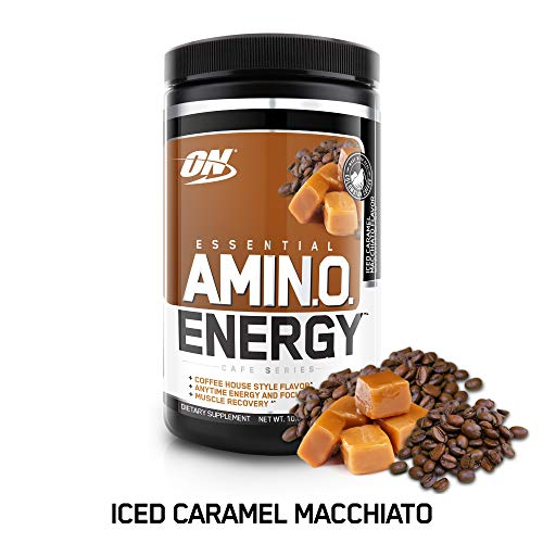 (OPTIMUM NUTRITION ESSENTIAL AMINO ENERGY, Iced Caramel Macchiato, Keto Friendly BCAAs, Preworkout and Essential Amino Acids with Green Tea and Green Coffee Extract, 30 Servings)